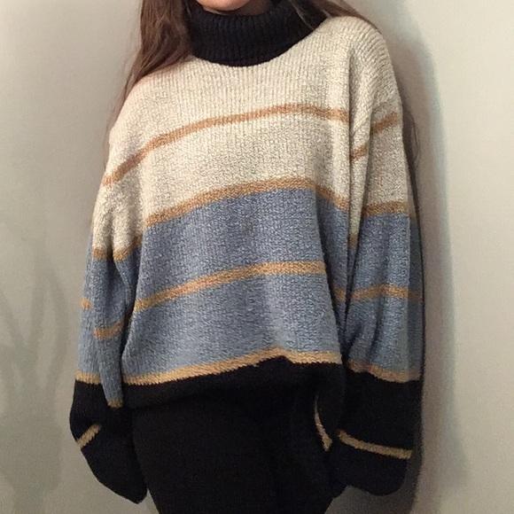 Oversized Striped Turtleneck Knit Sweater. M 5bec89df3e0caa1579a5cd61 dd88b6900